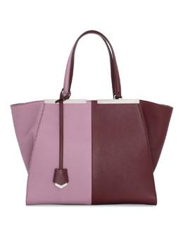 Fendi Trois-Jour Bicolor Shopping Tote Bag, Bordeaux/Lilac