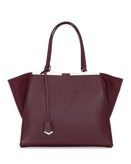 Fendi Trois-Jour Saffiano Shopping Tote Bag, Bordeaux