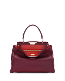 Fendi Peekaboo Bicolor Medium Satchel Bag, Bordeaux/Poppy