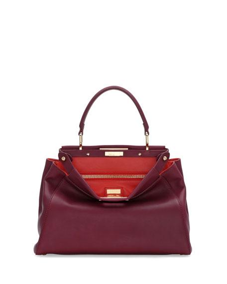 Peekaboo Bicolor Satchel Bag, Bordeaux/Poppy