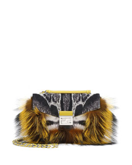 Fendi Be Baguette Fur & Leopard-Print Calf Hair Bag