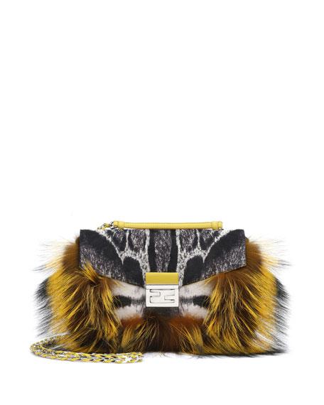 60f9e6923db5 Fendi Be Baguette Fur   Leopard-Print Calf Hair Bag