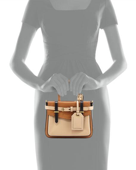 Boxer Micro Tote Bag, Tan Multi