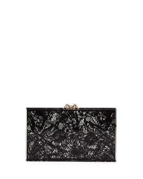 Pandora Lacey Box Clutch, Black