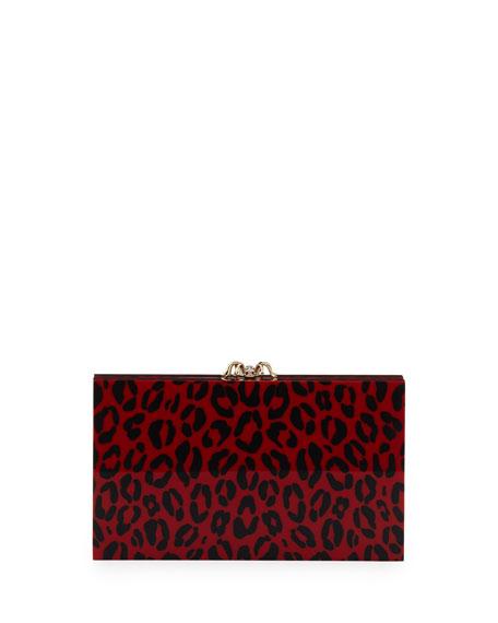 Pandora Leopard-Print Box Clutch, Red