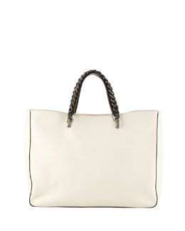 Jacques Chain-Trim Leather Tote Bag, Ivory