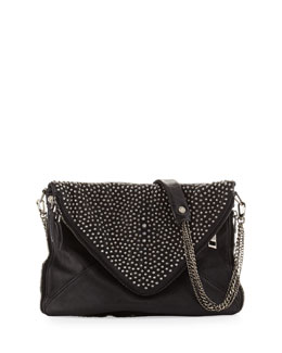 BOYY Slash Gun Metal Pearl- Envelope Chain Shoulder Bag, Black