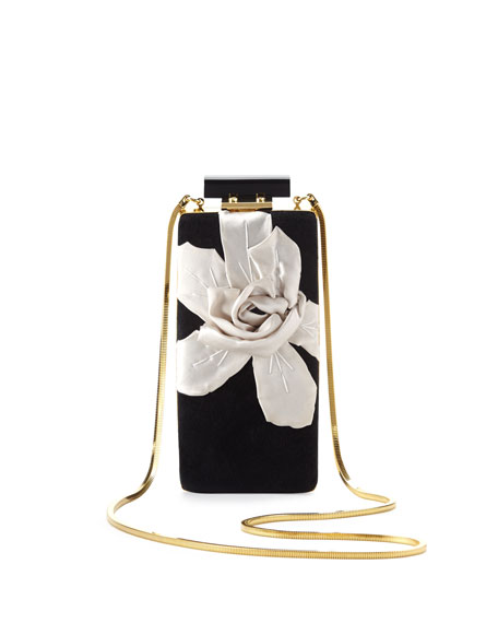 Vertical Floral Velvet Minaudiere, Black