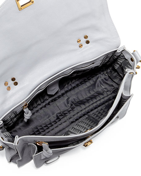 PS1 Medium Leather Satchel Bag, Light Gray