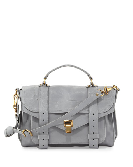PS1 Medium Leather Satchel Bag, Light Gray