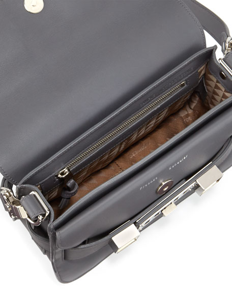PS11 Mini Calfskin Shoulder Bag, Gray