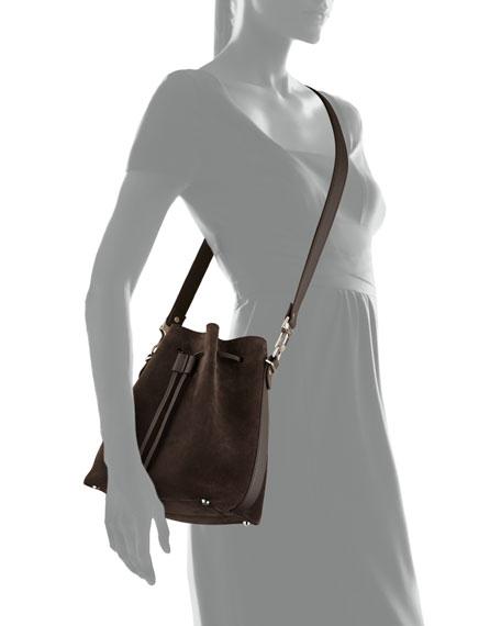 Suede Bucket Crossbody Bag, Gray