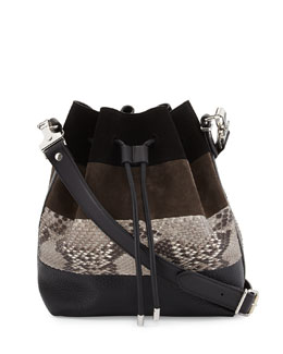 Proenza Schouler Python & Suede Medium Bucket Bag, Black Multi