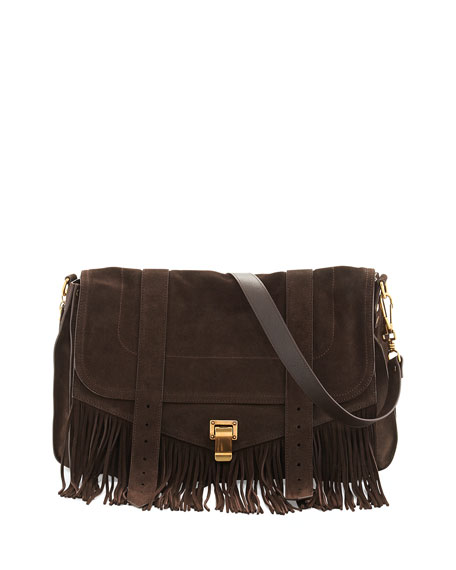 PS1 Suede Fringe Runner Shoulder Bag, Brown