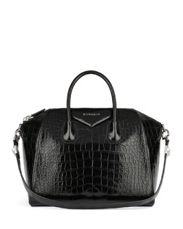 Givenchy Antigona Crocodile Medium Satchel Bag, Black