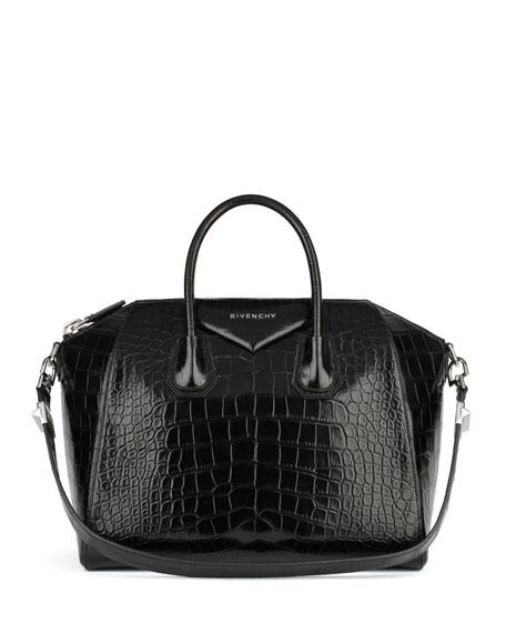 Antigona Medium Genuine Crocodile Satchel Bag, Black