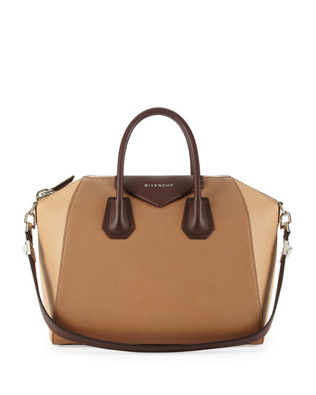 Antigona Medium Leather Satchel Bag, Camel