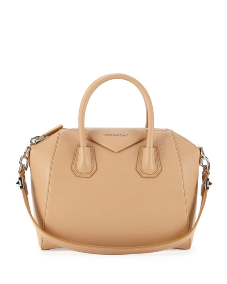 Antigona Small Leather Satchel Bag, Light Beige