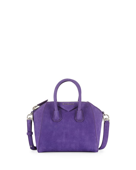 Antigona Mini Nubuck Satchel Bag, Purple