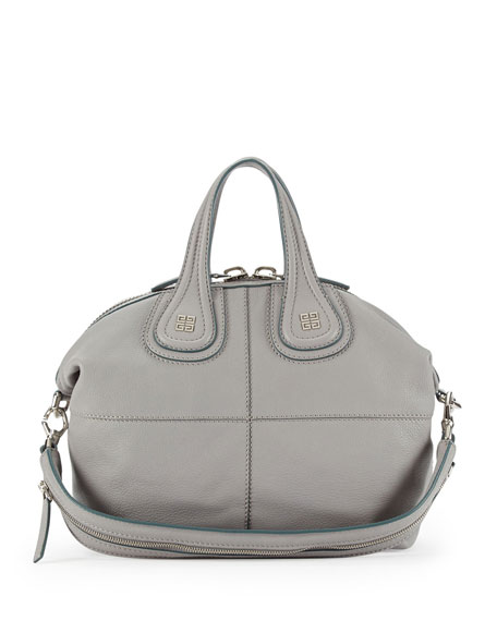 Nightingale Small Leather Satchel Bag, Pearl Gray