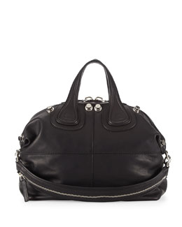 Givenchy Nightingale Waxy Leather Satchel Bag, Black