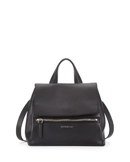 Givenchy Pandora Small Waxy Leather Satchel Bag, Black