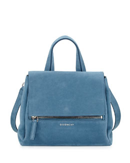 Givenchy Pandora Pure Small Nubuck Satchel Bag, Blue