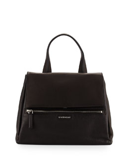 Givenchy Pandora Medium Waxy Leather Satchel Bag, Black