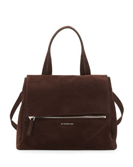 Givenchy Pandora Medium Nubuck Satchel Bag, Chocolate Brown