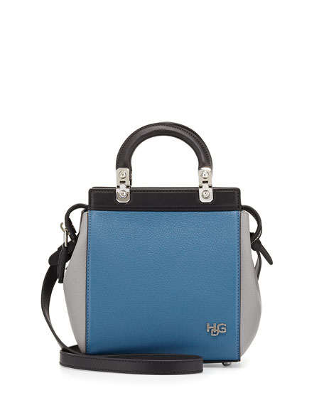 HDG Top-Handle Mini Goat Leather Crossbody Bag, Black/Blue/Gray