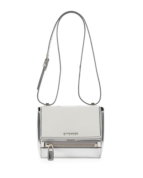 Pandora Small Leather Satchel Bag, Silver