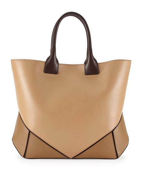 Easy Medium Leather Tote Bag, Camel