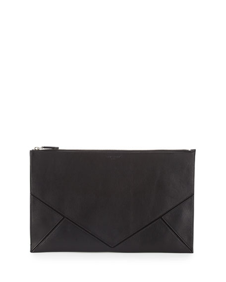 Easy Large Leather Clutch, Black