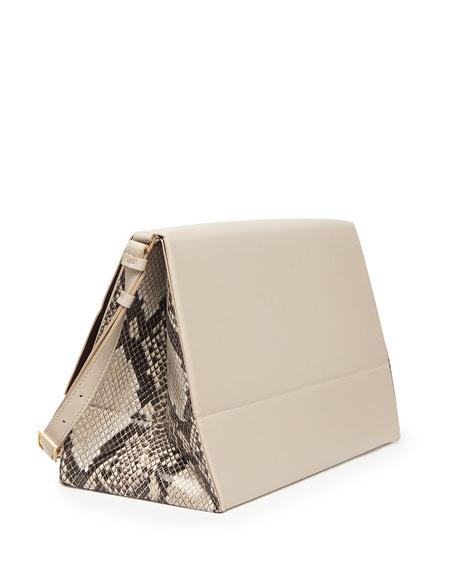 Beckett Faux-Napa Shoulder Bag, Beige