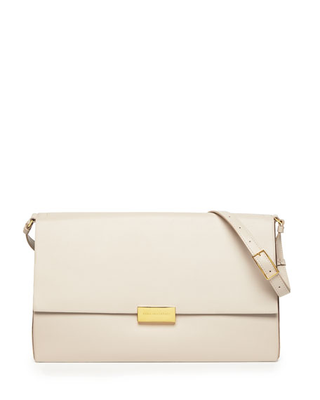 Beckett Faux-Napa Shoulder Bag, Beige