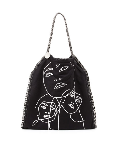Falabella Visage Embroidered Tote Bag, Black