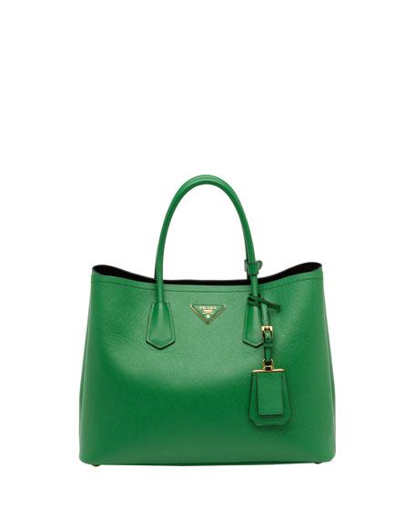 08c5ffe33d4d ... new arrivals prada saffiano cuir double bag green verde d143a 50caf