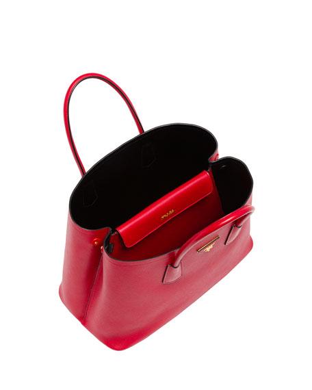 Prada Saffiano Cuir Double Bag, Red (Fuoco)