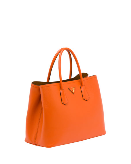 b49a32992eaf Prada Saffiano Cuir Double Bag, Orange (Papaya)