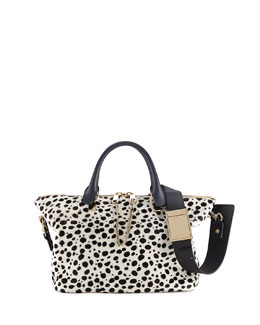 Chloe Baylee Spotted Calf Hair Satchel Bag, Black/White
