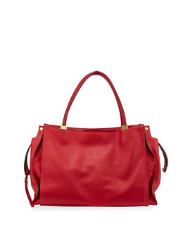 Chloe Dree East-West Leather Satchel Bag, Red