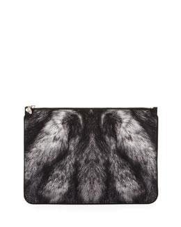 Alexander McQueen Large Fur-Print Skull Zip Pouch, Gray/Black