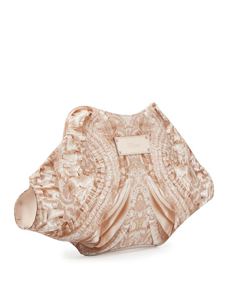 De-Manta Lace-Print Clutch Bag, White/Nude