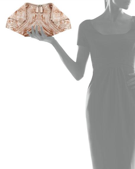 De-Manta Lace-Print Clutch Bag, White/Nude