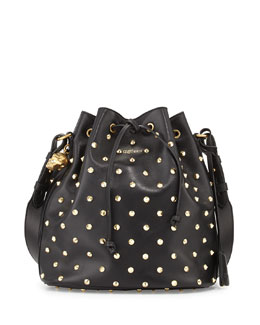 Alexander McQueen Padlock Studded Leather Bucket Bag, Black