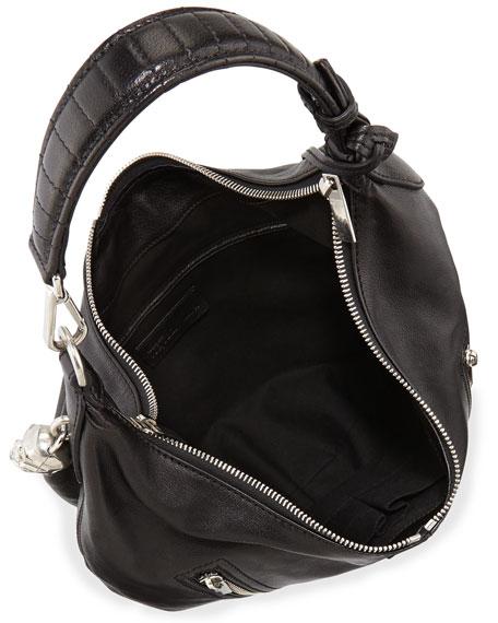 1219b9c9da733 Alexander McQueen Padlock Small Biker Hobo Bag, Black