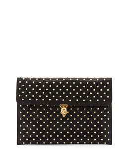 Alexander McQueen Studded Skull Envelope Clutch Bag, Black