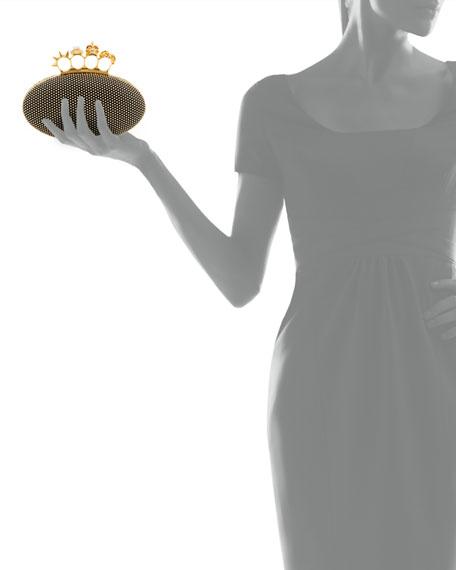 Studded Oval Knuckle Clutch Bag, Black