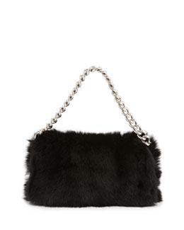 Alexander McQueen Folded Fur Clutch Bag, Black