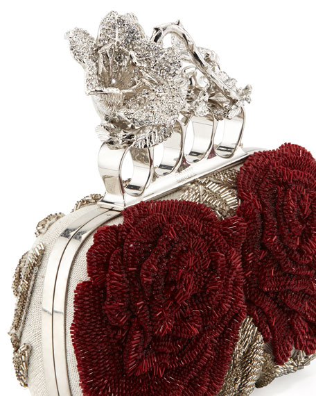 Beaded Flower Knuckle Box Clutch Bag